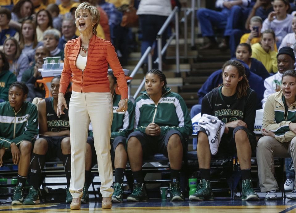 Photo - Baylor coach Kim Mulkey yells to her players during the second half of an NCAA college basketball game against West Virginia at WVU Coliseum in Morgantown, W.Va., on Saturday, March 2, 2013. Baylor won 80-49. (AP Photo/David Smith)