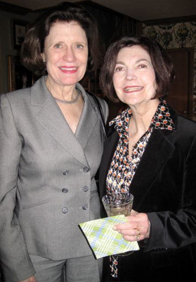 COMING SOON....Becky Buchanan and Harolyn Enis were at the party. (Photo by Helen Ford Wallace).