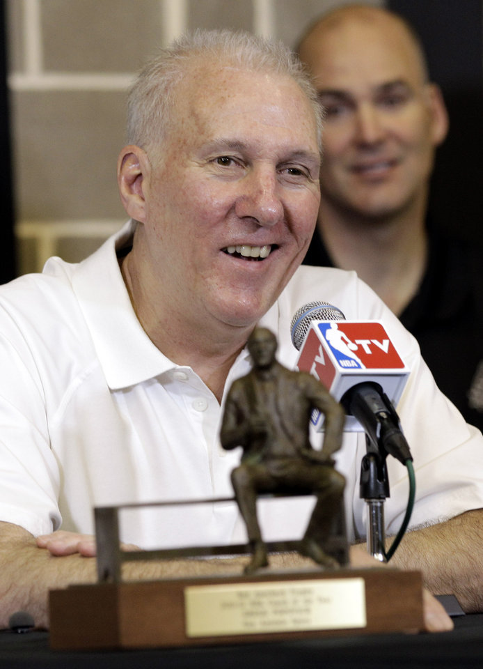 Photo -   San Antonio Spurs head basketball coach Gregg Popovich sits behind the Red Auerbach trophy during a news conference where he was named the NBA's Coach of the Year at the team's basketball practice facility, Tuesday, May 1, 2012, in San Antonio. (AP Photo/Eric Gay)