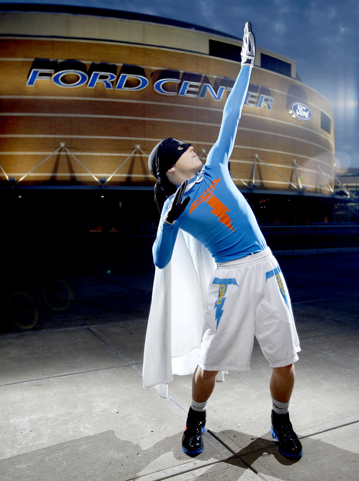 "Thunder super fan ""Thuner Man"" poses for a portrait outside the Ford Center in Oklahoma City, Thursday, Feb. 12, 2009. PHOTO BY BRYAN TERRY, THE OKLAHOMAN"