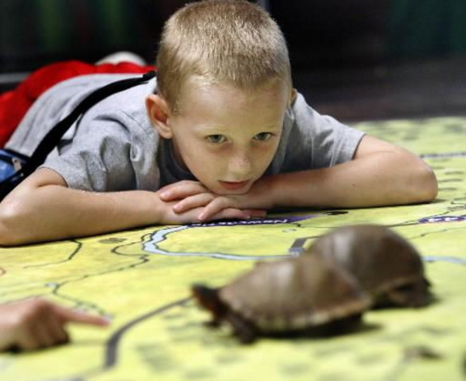 Eli  Moulton, 5, watches turtles as naturalist Kathy Furneaux talks about them at the Discovery Nature Center at Lake Thunderbird in Norman, Okla. on Friday, Aug. 14, 2009. Photo by Steve Sisney