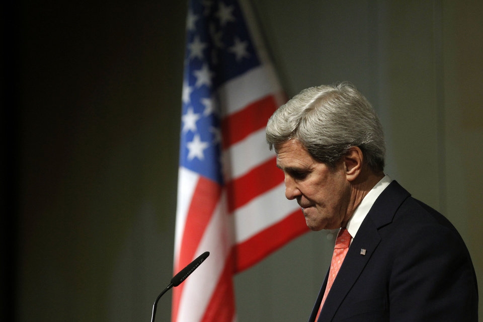 Photo - U.S. Secretary of State John Kerry pauses during a press conference at the end of the Iranian nuclear talks in Geneva, Sunday, Nov. 10, 2013. Nuclear talks with Iran have failed to reach agreement, but Kerry said differences between Tehran and six world powers made