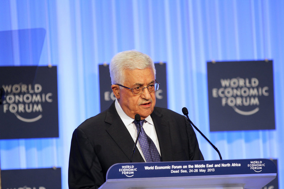 Photo - Palestinian President Mahmoud Abbas speaks at the World Economic Forum, held at the King Hussein Bin Talal Convention center, in Southern Shuneh, 34 miles (55 kilometers) southeast of Amman, Jordan, Saturday, May 25, 2013.  (AP Photo/Raad Adayleh)