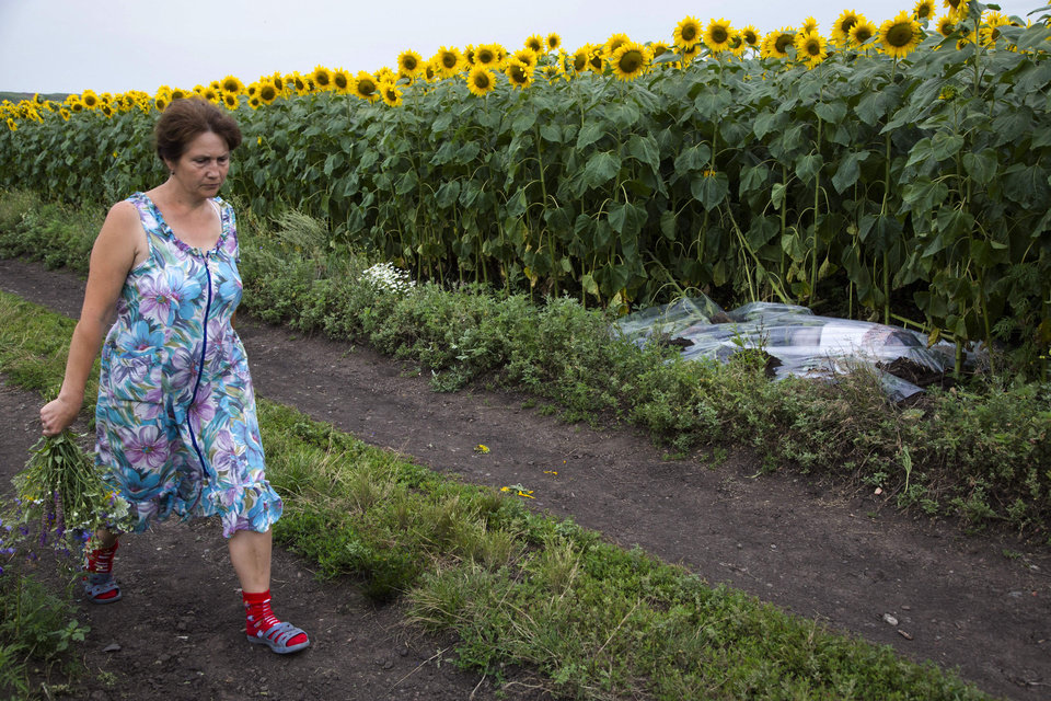 Photo - A woman walks past a body covered with a plastic sheet near the site of a crashed Malaysia Airlines passenger plane near the village of Rozsypne, Ukraine, eastern Ukraine Friday, July 18, 2014. Rescue workers, policemen and even off-duty coal miners were combing a sprawling area in eastern Ukraine near the Russian border where the Malaysian plane ended up in burning pieces Thursday, killing all 298 aboard. (AP Photo/Dmitry Lovetsky)