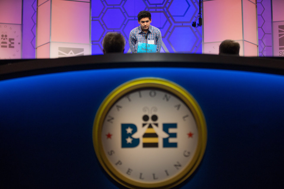 Photo - Bryce Harrell, 13, of Bartow, Fla., spells a word during the 2015 Scripps National Spelling Bee, Wednesday, May 27, 2015, at National Harbor in Oxon Hill, Md. (AP Photo/Andrew Harnik)