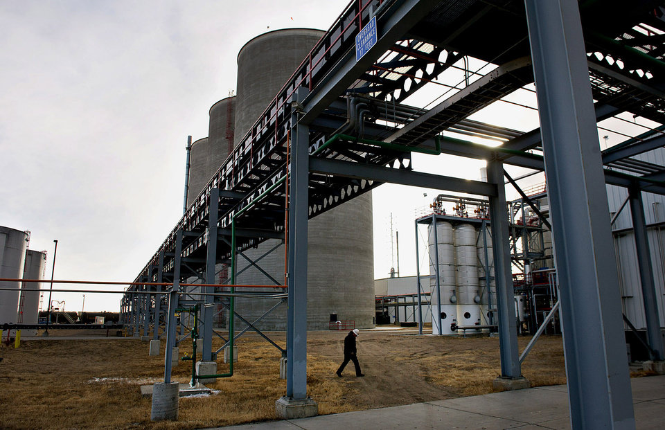 Photo -  A worker walks outside the Great River Energy Blue Flint Ethanol plant in Underwood, N.D., in 2012. The EPA is preparing to send its biofuels mandate to the Office of Management and Budget for final review as soon as this week. That will kick off the last-ditch lobbying campaign on the 2014 requirements, which were due by the end of November 2013. Photo by Daniel Acker, Bloomberg News   ACKER -  BLOOMBERG NEWS