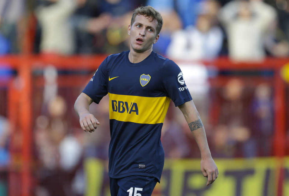 Photo -   Boca Juniors' Nicolas Colazo reacts after missing a chance to score against Argentinos Juniors during an Argentina's league soccer match in Buenos Aires, Argentina, Sunday, Sept. 9, 2012. (AP Photo/Eduardo Di Baia)