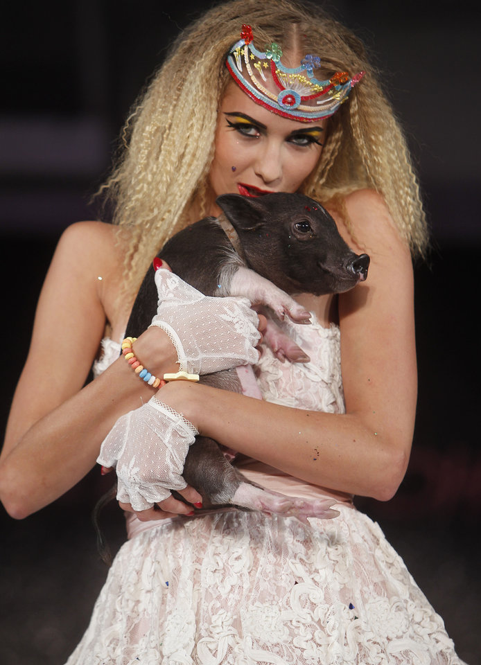 Photo -   The Betsey Johnson Spring 2013 collection is modeled during Fashion Week, Tuesday, Sept. 11, 2012, in New York. (AP Photo/Jason DeCrow)