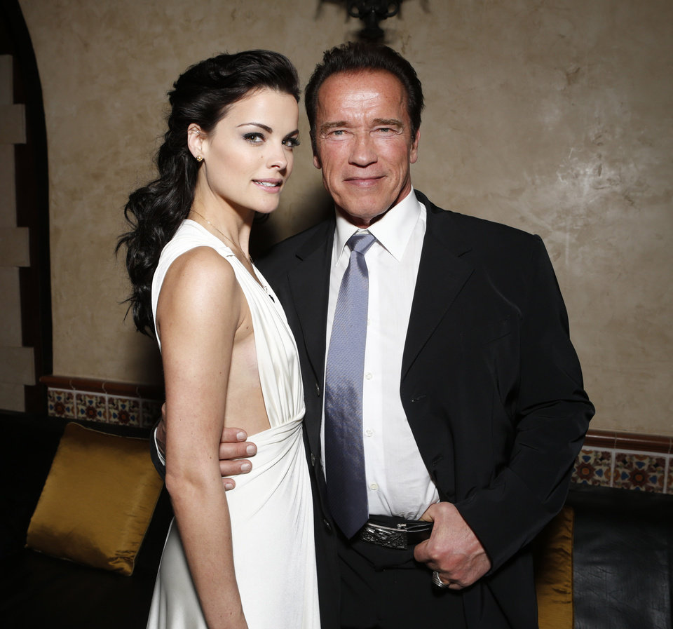 Photo - FILE - in this Jan. 14, 2013 photo, Jaimie Alexander, left, and Arnold Schwarzenegger attend the after party for the LA premiere of