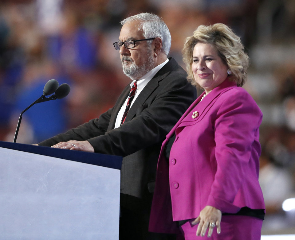 Photo - Leticia Van de Putte, right, and former Rep. Barney Frank speak during the first day of the Democratic National Convention in Philadelphia , Monday, July 25, 2016. (AP Photo/Paul Sancya)