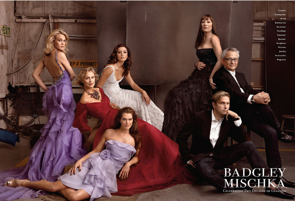 Eva Longoria, Carrie Underwood, Brooke Shields, Lauren Hutton and Anjelica Huston appear alongside Mark Badgley and James Mischka to celebrate Badgley Mischka's 20th anniversary.