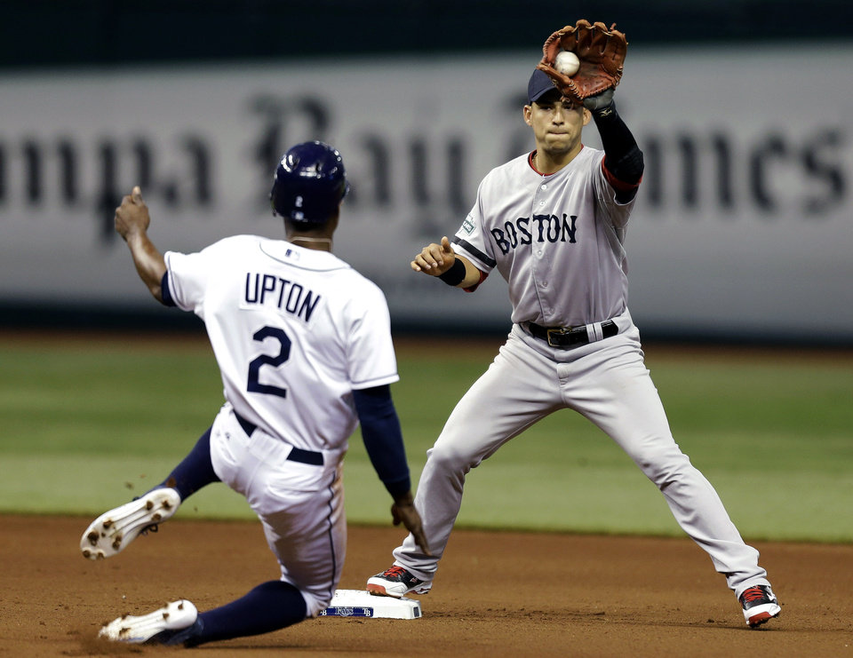 Photo -   Boston Red Sox shortstop Jose Iglesias, right, forces Tampa Bay Rays' B.J. Upton out at second base on a fielder's choice during the fourth inning of a baseball game, Monday, Sept. 17, 2012, in St. Petersburg, Fla. Rays' Ben Zobrist was safe at first on the play. (AP Photo/Chris O'Meara)