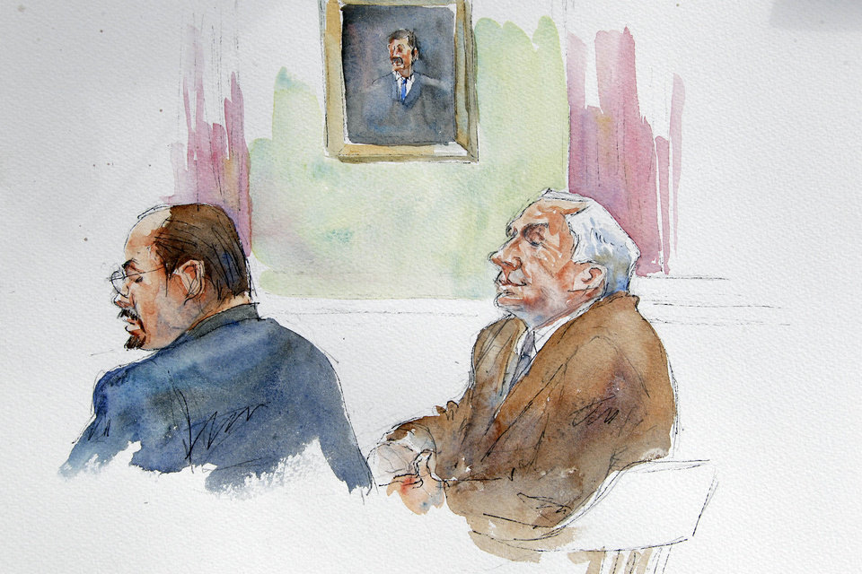 Photo -   In this courtroom sketch, Karl Rominger, left, attorney for Jerry Sandusky, right, listen as the testimony of Penn State assistant football coach Mike McQueary is reenacted at the request of the jury during the second day of jury deliberations in Sandusky's child sexual abuse trial at the Centre County Courthouse in Bellefonte, Pa., Friday, June 22, 2012. Sandusky is charged with 52 counts of child sexual abuse involving 10 boys over a period of 15 years. (AP Photo/Aggie Kenny)
