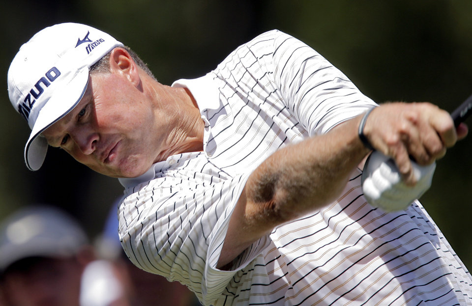 Bob Tway tees off on the second hole during the second round of the 2007 PGA Championship at Southern Hills Country Club on Friday, Aug. 10, 2007, in Tulsa, Okla. By CHRIS LANDSBERGER, The Oklahoman