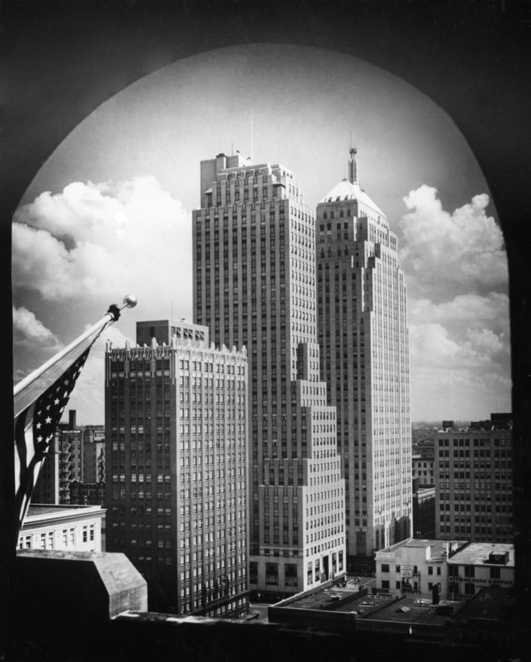 OKLAHOMA CITY / SKY LINE / OKLAHOMA:  Historic buildings that add to the architectural variety in downtown Oklahoma City include from left, the Petroleum Building, the Ramsey Tower, the First National Building and the Perrine Building.  This photo was taken in 1931.  Published 08/29/1987 in The Daily Oklahoman (RE edition).