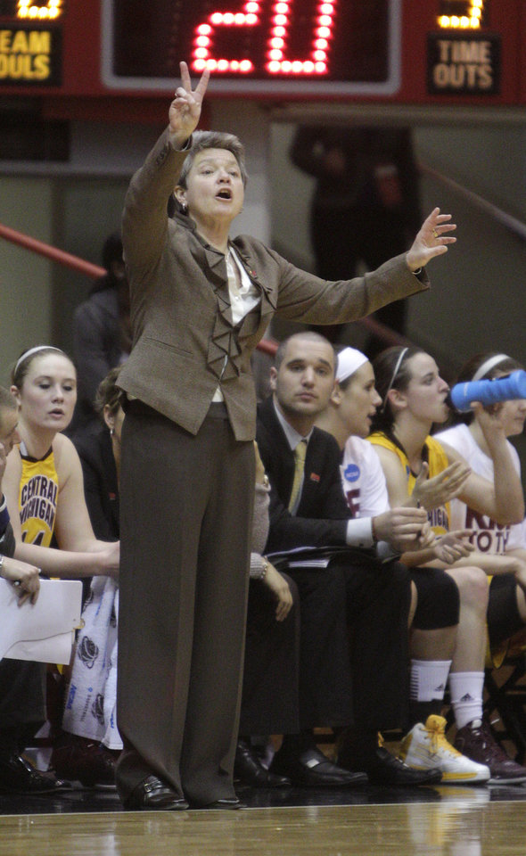 Central Michigan head coach Sue Guevara shouts to her team during the first half of a first-round game in the women\'s NCAA college basketball tournament Saturday, March 23, 2013, in Columbus, Ohio. Oklahoma beat Central Michigan 78-73. (AP Photo/Jay LaPrete) ORG XMIT: OHJL111