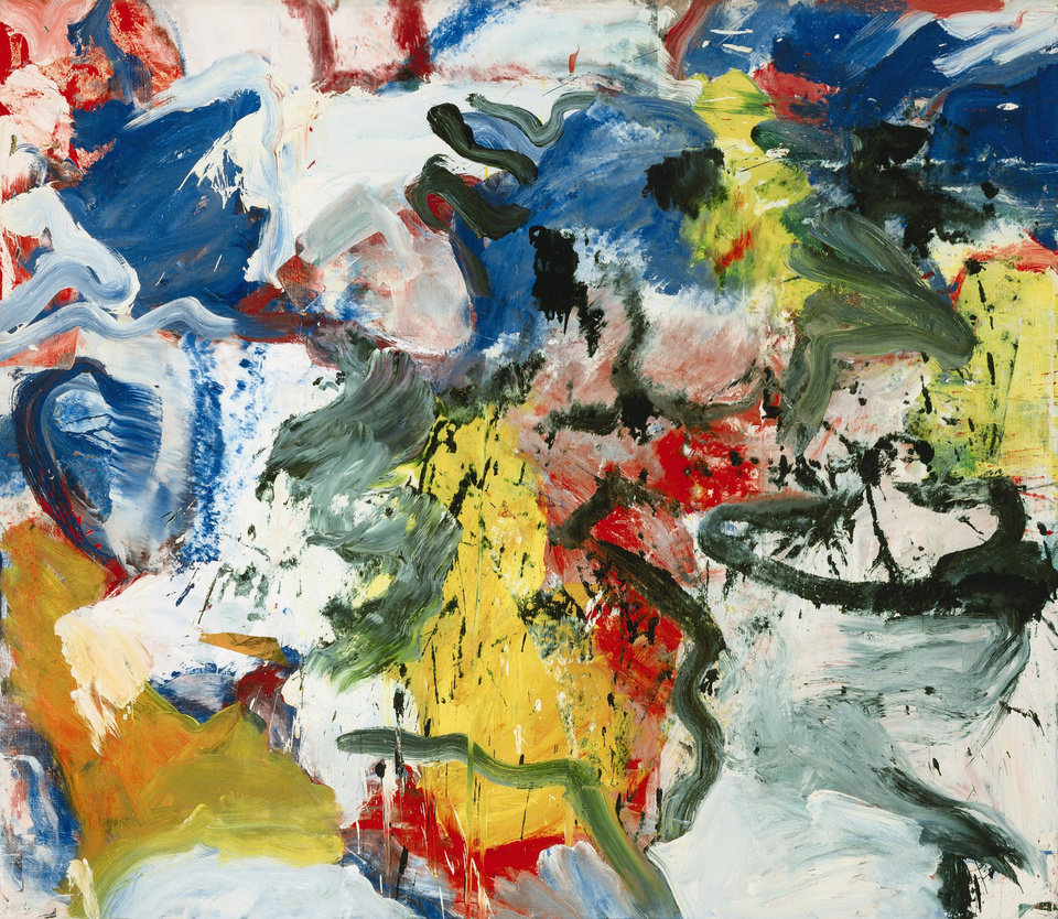 """Photo - This undated photo provided by Sotheby's shows William De Kooning's painting """"Untitled V""""  that is being auctioned in New York Wednesday evening, Nov. 13, 2013, at Sotheby's. The abstract work of reds, yellows and whites not seen in public since 1980  had a pre-auction estimate of up to $35 million. On Tuesday, Christie's sold De Kooning's 1977"""