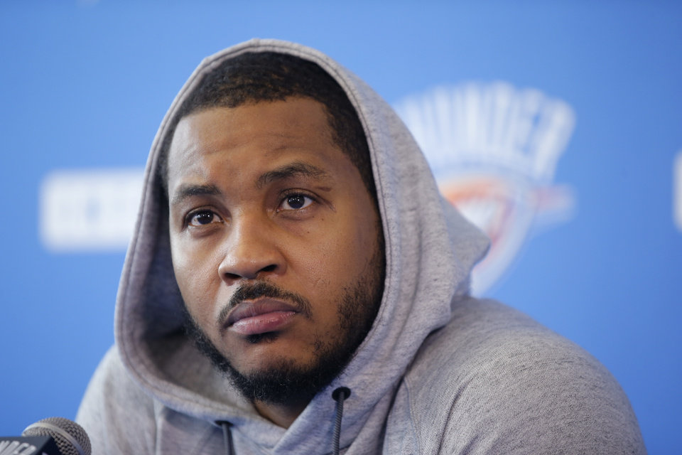 "Photo -  Carmelo Anthony said at the Thunder's exit interviews on Saturday that he can't excel in the role Oklahoma City asked him to play this season and that coming off the bench is ""out the question.""  [PHOTO BY BRYAN TERRY, THE OKLAHOMAN]"