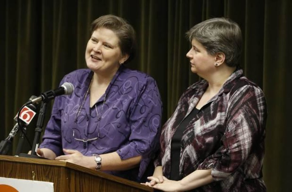 Photo - Mary Bishop and Sharon Baldwin - Photo by James Gibbard, Tulsa World