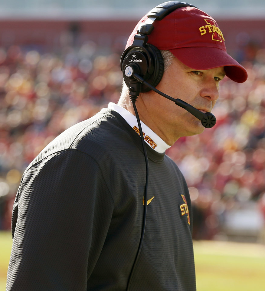 Photo - Iowa State coach Paul Rhoads during a college football game between the University of Oklahoma Sooners (OU) and the Iowa State Cyclones (ISU) at Jack Trice Stadium in Ames, Iowa, Saturday, Nov. 1, 2014. Photo by Nate Billings, The Oklahoman