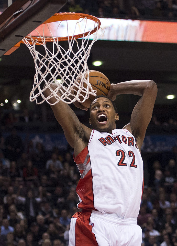 Toronto Raptors forward Rudy Gay goes in for a dunk against the Los Angeles Clippers during the first half of an NBA basketball game in Toronto on Friday, Feb. 1, 2013. (AP Photo/The Canadian Press, Nathan Denette)