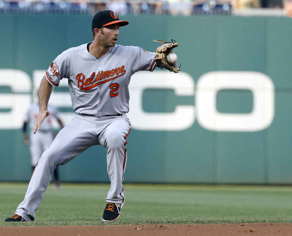 Photo - Baltimore Orioles shortstop J.J. Hardy (2) fields a ball hit by Washington Nationals Wilson Ramos during the third inning of an interleague baseball game at Nationals Park, Monday, July 7, 2014, in Washington. (AP Photo/Alex Brandon)