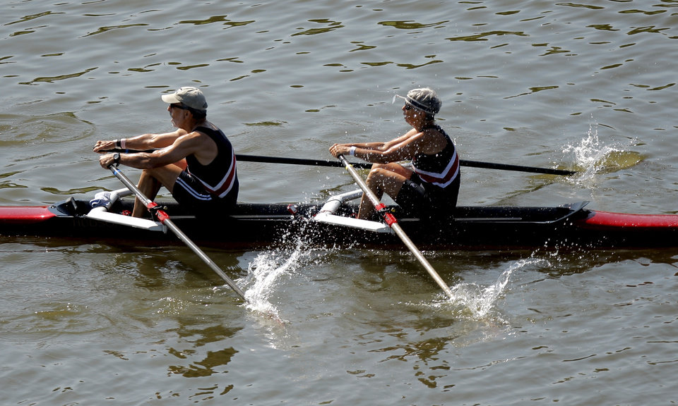 Photo - Members of the Chester River rowing club compete in the Mixed H-J 2x final during the USRowing Masters National Championships on the Oklahoma River, Sunday, Aug. 14, 2011. Photo by Sarah Phipps, The Oklahoman
