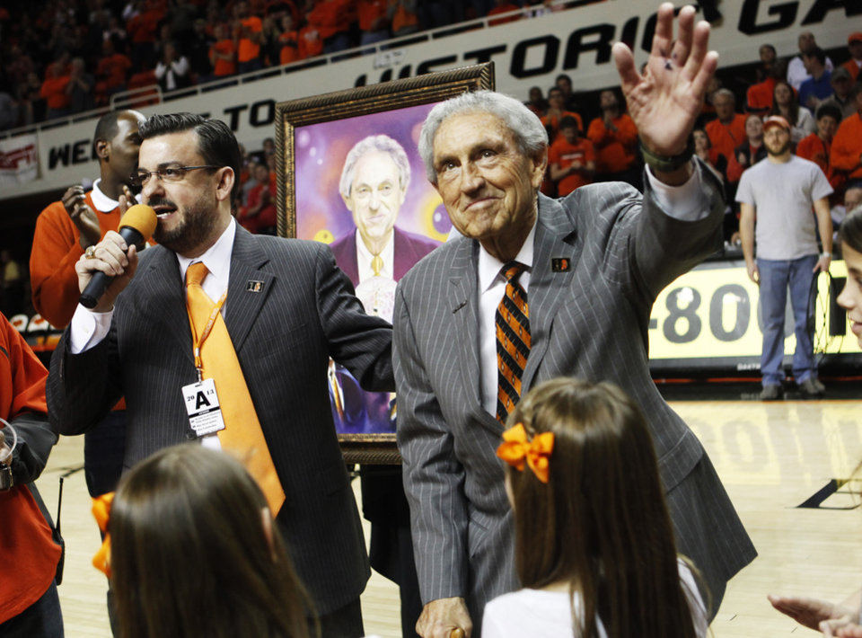 "Photo - Legendary Oklahoma State coach Eddie Sutton was honored at half time of an NCAA college basketball game between Oklahoma State University (OSU) and Iowa State at Gallagher-Iba Arena in Stillwater, Okla., Monday, Feb. 3, 2014. The event was proclaimed ""Eddie Sutton Night"" in honor of Sutton's years of coaching the Cowboys. Photo by KT King, The Oklahoman"