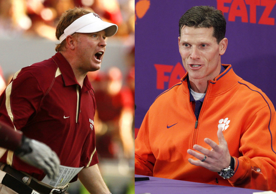 Florida State defensive coordinator Mark Stoops, left, and Clemson defensive coordinator Brent Venables will face off on Saturday. Photos from The Oklahoman Archives and AP