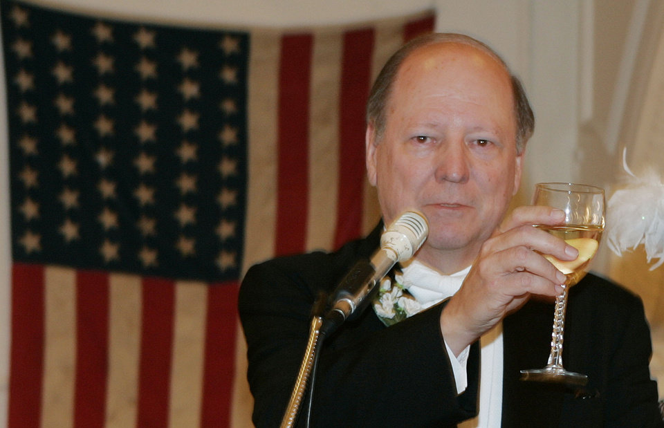Photo - Edward S. Haskell, who is the great-grandson of Oklahoma's first governor, Governor Charles Haskell, delivers a toast at the Oklahoma Centennial Statehood Inaugural Ball, Saturday, Nov. 17, 2007, at the Guthrie Scottish Rite Masonic Center, in Guthrie, Okla. By Bill Waugh, The Oklahoman