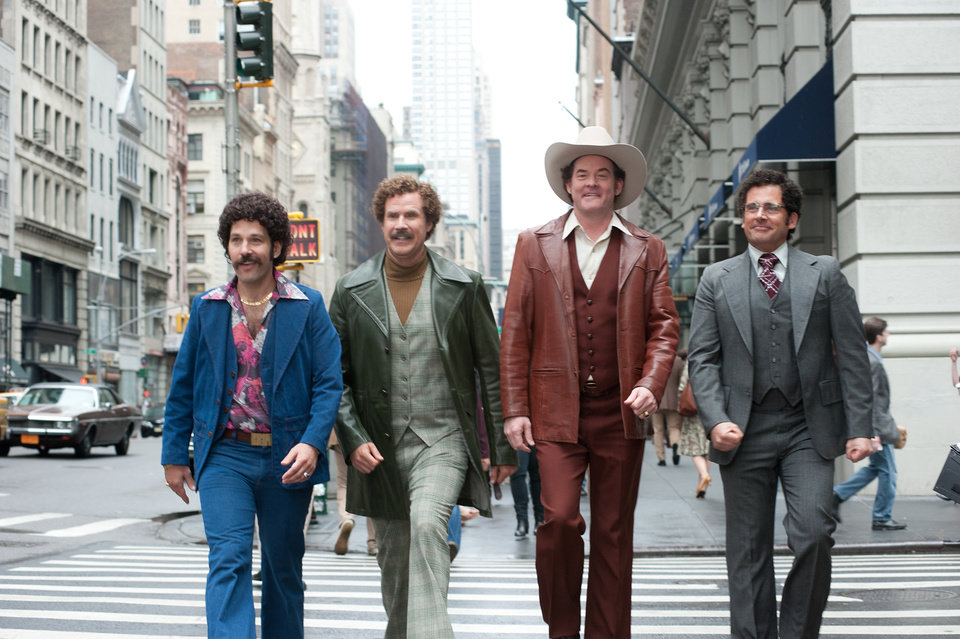 Photo - This image released by Paramount Pictures shows, from left, Paul Rudd is Brian Fantana, Will Ferrell is Ron Burgundy, David Koechner is Champ Kind and Steve Carell is Brick Tamland in a scene from