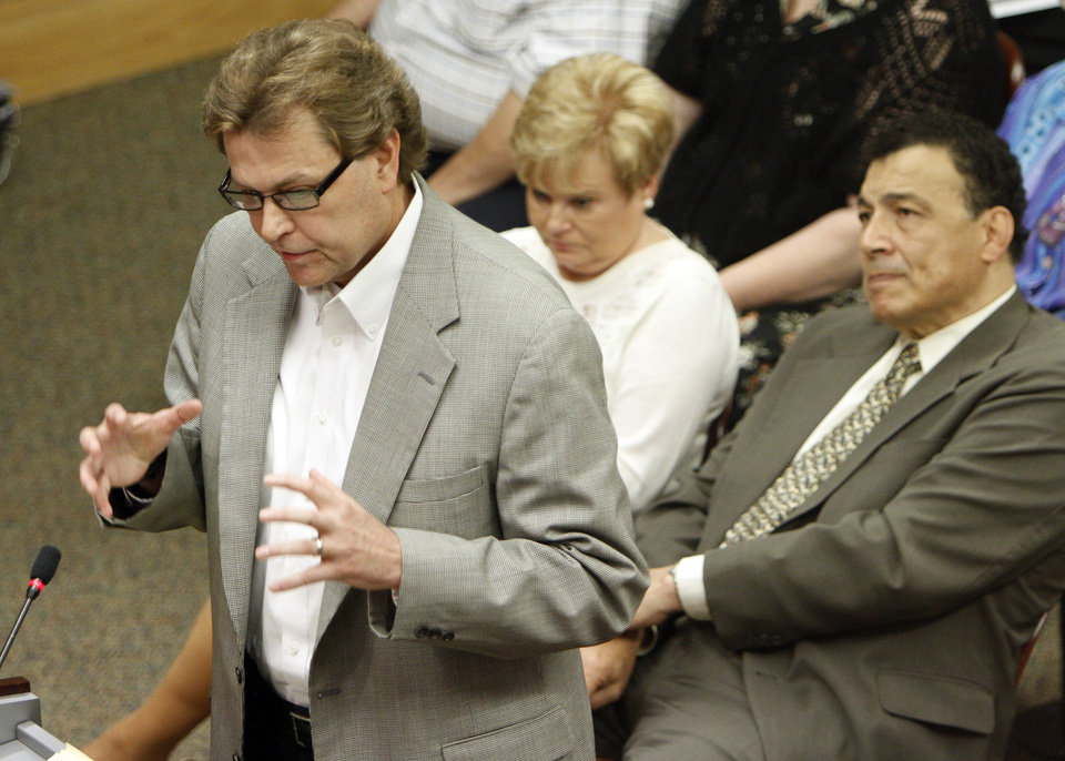 Pastor Andrew Mericle speaks during a City Council Meeting in Del City, Okla., Monday, July 16, 2012. The Del City Council voted on the rezoning of Howard Memorial Baptist Church property. Photo by Garett Fisbeck, The Oklahoman