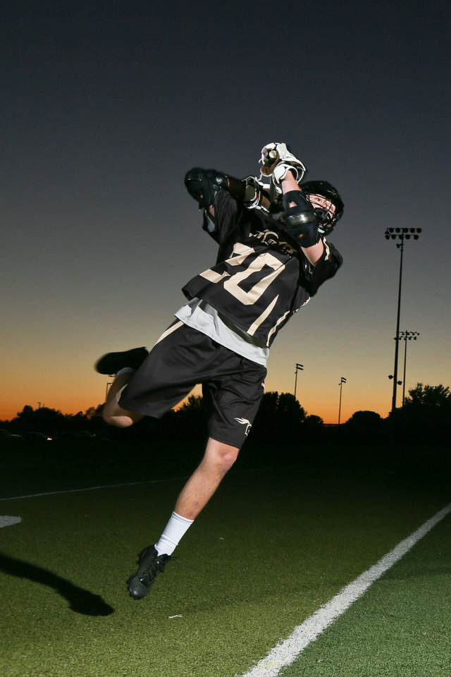 Sam Heaton, who plays for the OKC Knights lacrosse team, signed to play at Lindenwood University, a Division II school in St. Charles, Mo. Heaton is a senior at Edmond North. Photo courtesy David Prentice