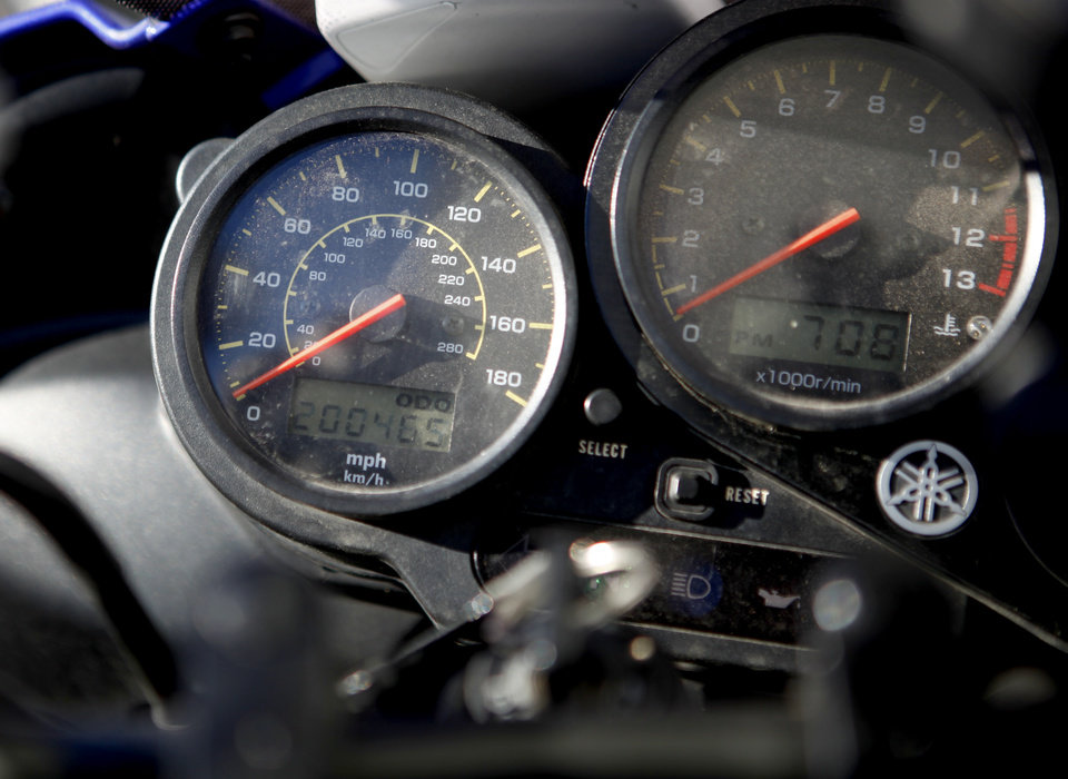 The odometer of Denise Dickenson's Yamaha FZ1 motorcycle reads over 200,000 miles. A party was thrown in her honor at Maxey's Cycles in Oklahoma CIty, Saturday, March 24, 2012. Photo by Bryan Terry, The Oklahoman