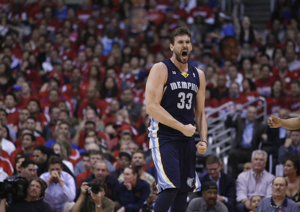 Memphis Grizzlies' Marc Gasol, of Spain, reacts to his basket and a foul call on the Los Angeles Clippers during the first half in Game 5 of a first-round NBA basketball playoff series in Los Angeles, Tuesday, April 30, 2013. (AP Photo/Jae C. Hong) ORG XMIT: LAS101