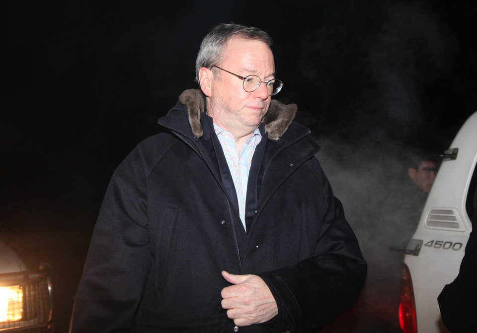 In this photo provided by China's Xinhua News Agency, Executive Chairman of Google Eric Schmidt, arrives at an airport in Pyongyang, North Korea, Monday, Jan. 7, 2013. The Google chairman wants a first-hand look at North Korea's economy and social media in his private visit Monday to the communist nation, his delegation said, despite misgivings in Washington over the timing of the trip.  (AP Photo/Xinhua, Zhang Li) NO SALES