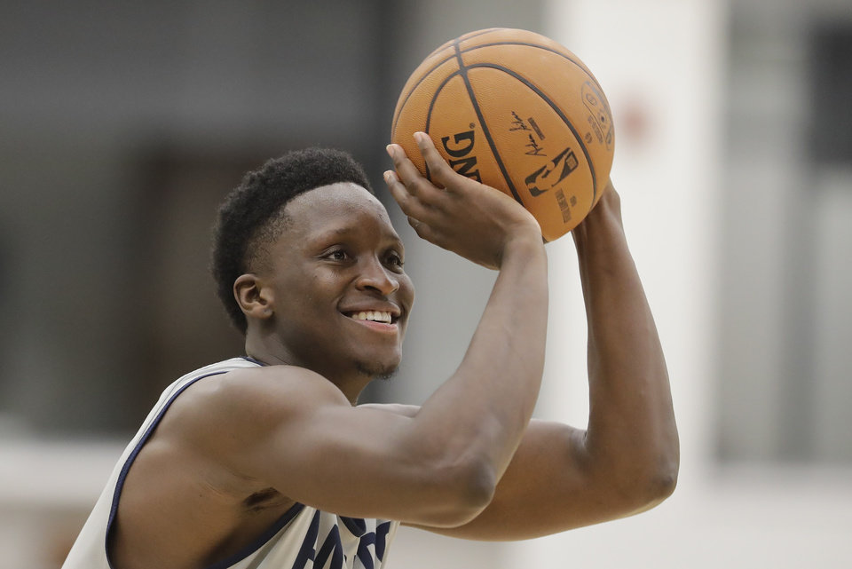 Photo - Indiana Pacers' Victor Oladipo shoots during practice at the team's NBA basketball training facility, Tuesday, Jan. 28, 2020, in Indianapolis. (AP Photo/Darron Cummings)