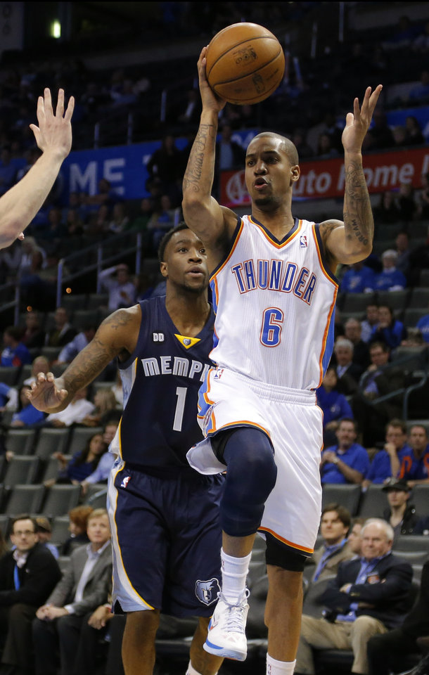 Oklahoma City\'s Eric Maynor (6) looks to shoot as Memphis\' Tony Wroten (1) trails behind him during the NBA basketball game between the Oklahoma City Thunder and the Memphis Grizzlies at the Chesapeake Energy Arena in Oklahoma City, Thursday, Jan. 31, 2013.Photo by Sarah Phipps, The Oklahoman