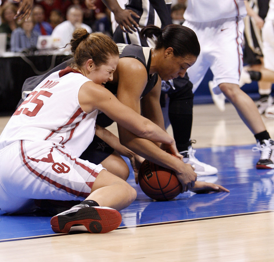 Photo - Whitney Hand and Lindsay Wisdom-Hylton try for a loose ball in the first half as the University of Oklahoma (OU) plays Purdue in the NCAA women's basketball regional tournament finals at the Ford Center in Oklahoma City, Okla., on Tuesday, March 31, 2009.  Photo by Steve Sisney, The Oklahoman
