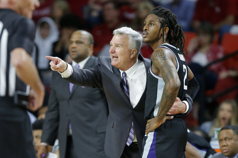 Photo - Kansas State coach Bruce Weber shouts instructions beside Cartier Diarra (2) during an NCAA college basketball game between the University of Oklahoma Sooners (OU) and the Kansas State Wildcats at Lloyd Noble Center in Norman, Okla., Saturday, Jan. 4, 2020. Oklahoma won 66-61. [Bryan Terry/The Oklahoman]