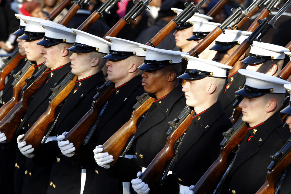 Members of the Marine Corps march in President Barack Obama's inaugural parade in Washington, Monday, Jan. 21, 2013, following the president's ceremonial swearing-in ceremony during the 57th Presidential Inauguration. (AP Photo/Jose Luis Magana) ORG XMIT: DCJL122