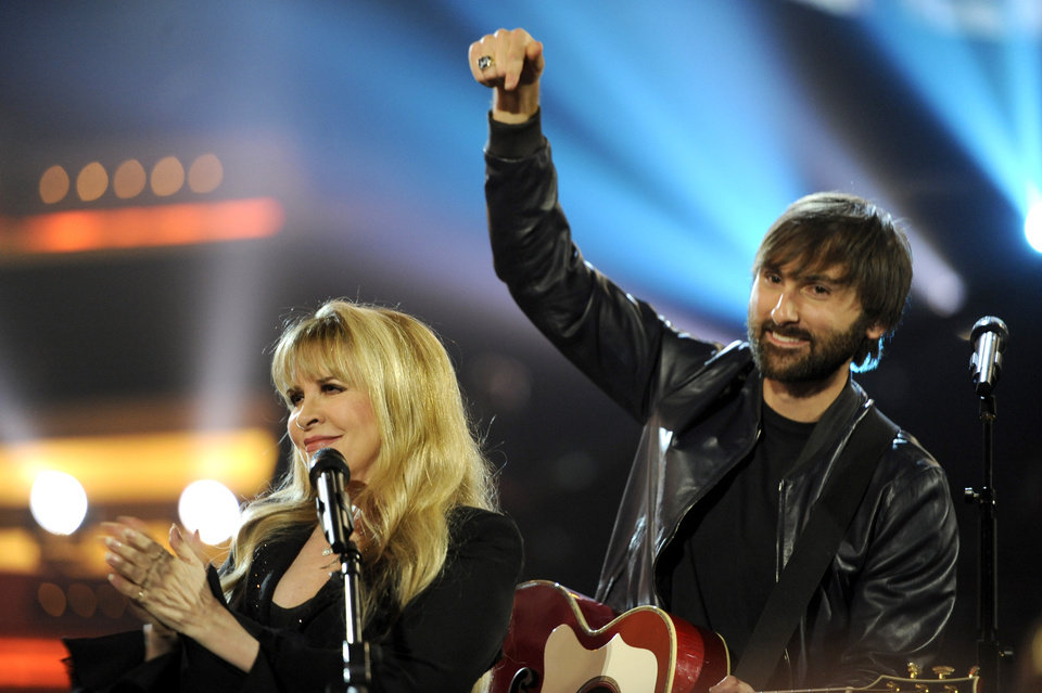 Photo - Stevie Nicks, left, and Dave Haywood, of the musical group Lady Antebellum, perform on stage at the 49th annual Academy of Country Music Awards at the MGM Grand Garden Arena on Sunday, April 6, 2014, in Las Vegas. (Photo by Chris Pizzello/Invision/AP)