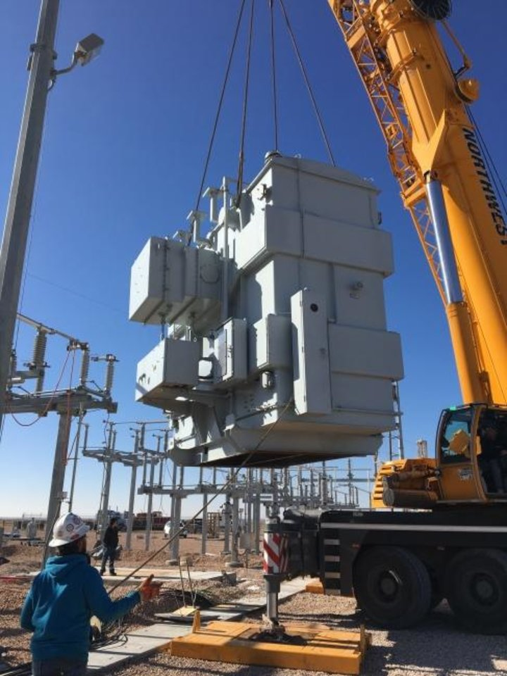 Photo -  Workers install a transformer on Tri-County Electric Cooperative's Panhandle Substation. [PROVIDED BY TRI-COUNTY ELECTRIC COOPERATIVE]