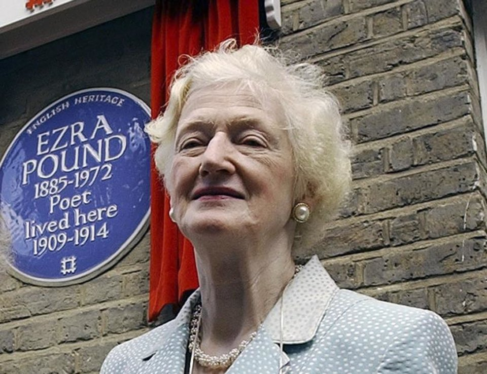 FILE - In this Wednesday, Aug. 11, 2004 file photo Valerie Elliot, the widow of the late British poet T.S. Eliot, with Mary de Rachewiltz,, daughter of late U.S. poet Ezra Pound, not in photo. after Rachewiltz unveiled an English Heritage Blue Plaque to commemorate the house on London's Kensington Church Walk where her father lived from 1909-14, Valerie Eliot, the widow of T.S. Eliot and zealous guardian of the poet's literary legacy for almost half a century, has died. She was 86. In a statement Sunday, Nov. 11, 2012, the Eliot estate said Valerie Eliot died two days before at her London home after a short illness. (AP Photo/Richard Lewis, File)