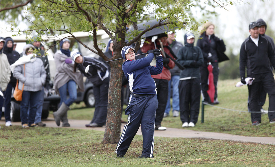 Photo - Edmond North's Allison Sell hits her second shot during the second day of Girls 6A golf tournament, Thursday, May 2, 2013. The players that tied yesterday play in a playoff due to the rain. Photo By David McDaniel/The Oklahoman