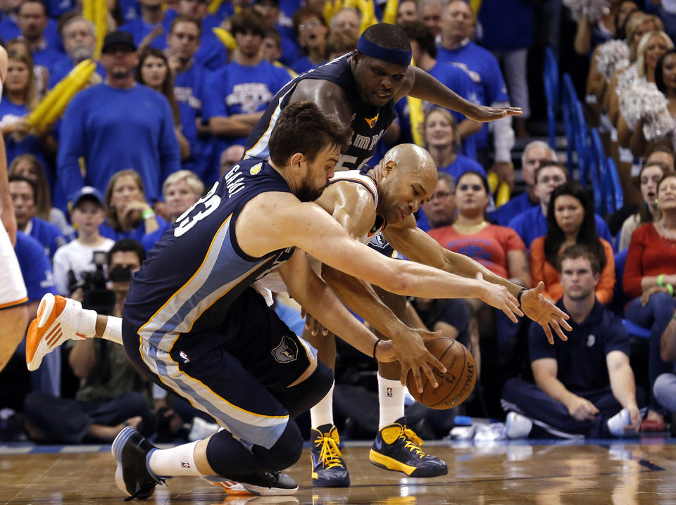 Oklahoma City\'s Derek Fisher (6) fights Memphis\' Marc Gasol (33) and Zach Randolph (50) for a loose ball in Game 2 in the second round of the NBA playoffs between the Oklahoma City Thunder and the Memphis Grizzlies at Chesapeake Energy Arena in Oklahoma City, Tuesday, May 7, 2013. Memphis won 99-93.Photo by Sarah Phipps, The Oklahoman