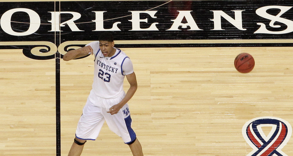 Kentucky's Anthony Davis reacts at the end of an NCAA Final Four semifinal college basketball tournament game against Louisville Saturday, March 31, 2012, in New Orleans. (AP Photo/David J. Phillip)