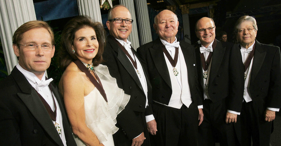 Photo - The Oklahoma Hall of Fame inducted, from left, Bart Conner, Suzanne Warren, Stan Clark, Lee R. West, Tom L. Ward and Ronald White. Edith Kinney Gaylord was honored posthumously. Photo by JAMES GIBBARD, Tulsa World