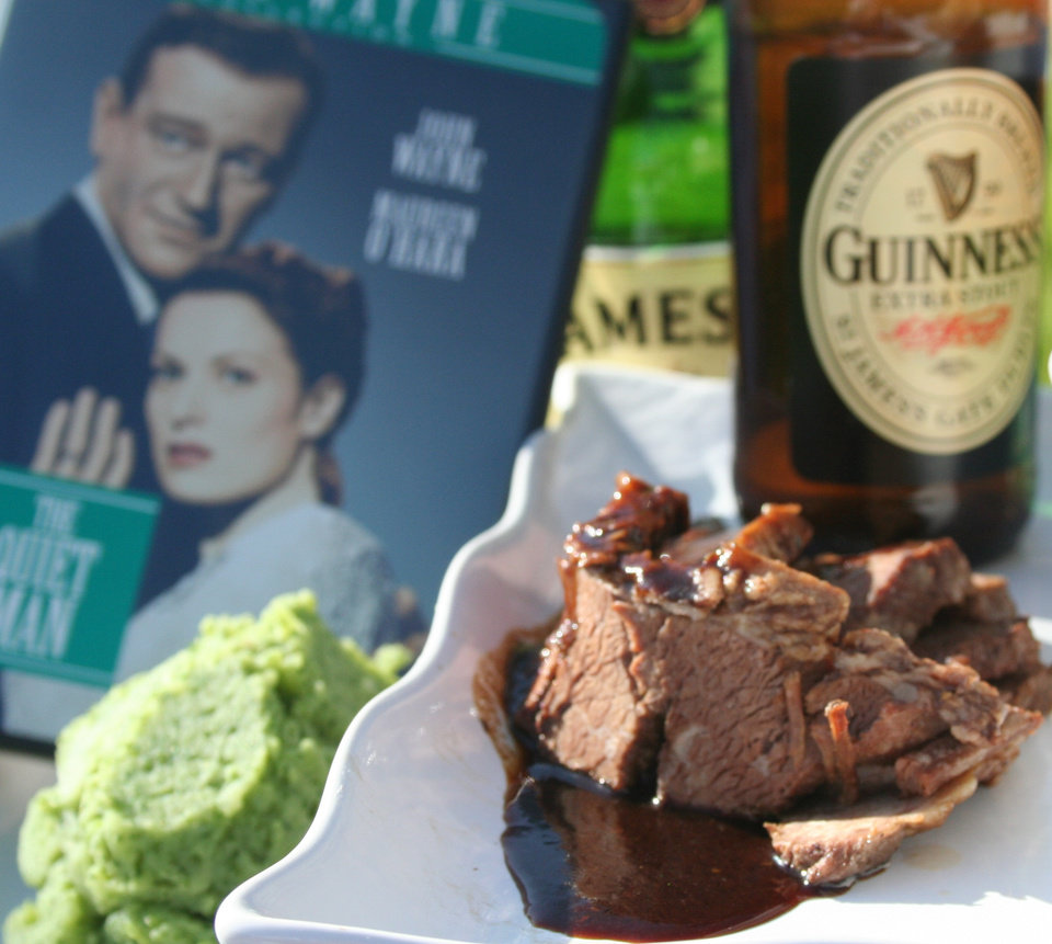 "If you're looking for a dinner-and-a-movie date for St. Patrick's Day, consider ""The Quiet Man"" and brisket braised in Guinness and Jameson with kale salsa mashed potatoes. <strong>DAVE CATHEY - THE OKLAHOMAN</strong>"