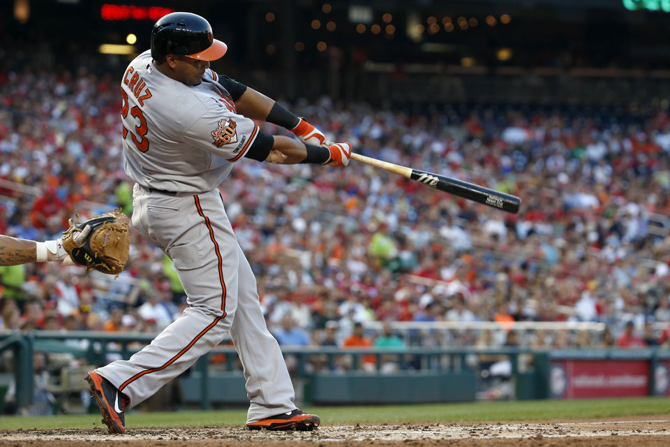 Photo - Baltimore Orioles' Nelson Cruz hits a two-run homer during the fourth inning of an interleague baseball game against the Washington Nationals at Nationals Park, Monday, July 7, 2014, in Washington. (AP Photo/Alex Brandon)